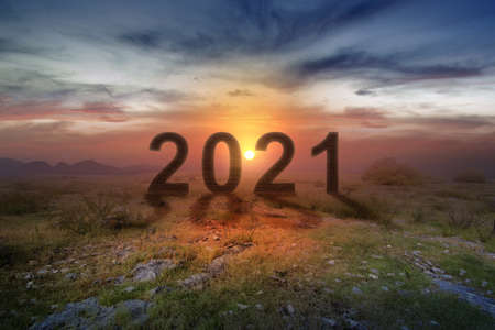 2021 on the field with a sunrise sky background. Happy New Year 2021 Archivio Fotografico