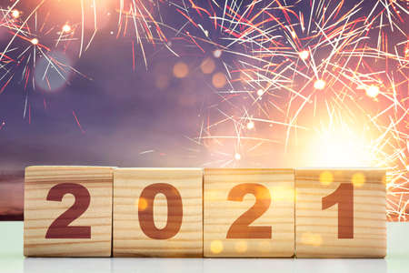 2021 on the wooden cube. Happy New Year 2021 Archivio Fotografico
