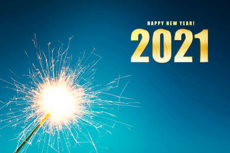 2021 and fireworks with a colored background. Happy New Year 2021 Archivio Fotografico