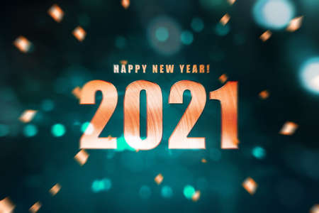 2021 with blurred light background. Happy New Year 2021 Archivio Fotografico