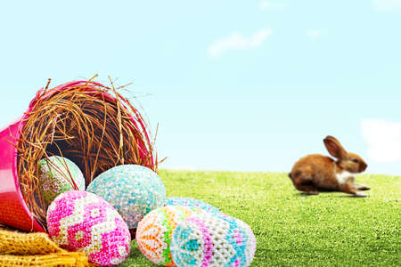 Cute easter bunny and colorful easter eggs spilled from the nest in a red bucket with fabric on the field. Happy Easter