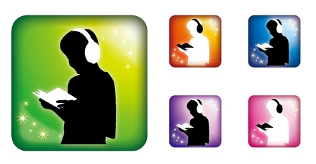 reading and listen music Vector