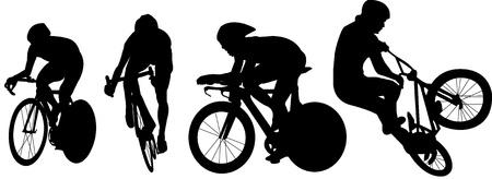 fietsen en fiets silhouetten Stock Illustratie