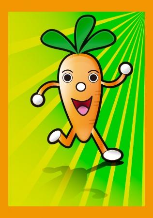 cartoon carrot: Cartoon Carrot Running Illustration