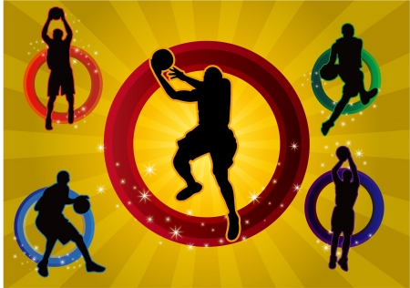 Five basketball player Vector