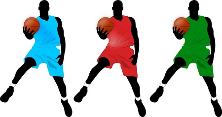 dribble: Three basketball player
