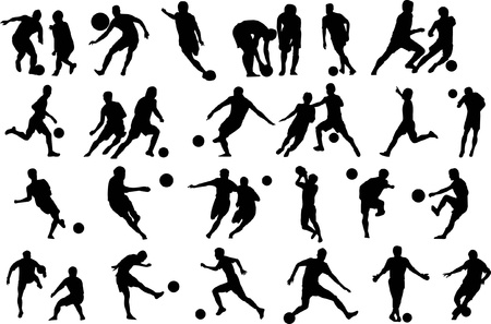 Soccer players silhouette, sports shadow Vector