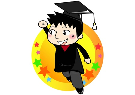 graduate cartoon student Vector