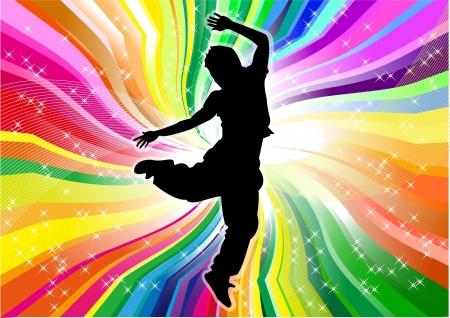 danseres silhouet: dancer silhouet en regenboog achtergrond