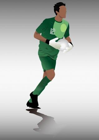 goal keeper: Voetballers silhouet, sport schaduw, doelman Stock Illustratie