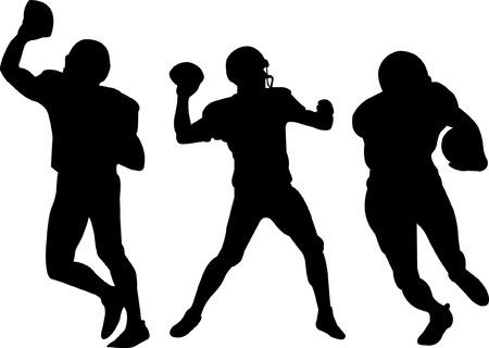 helmet football team: american football players silhouettes