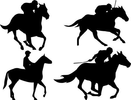 horse racing: Caballo que compite con el juego Vectores
