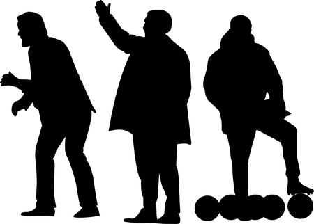 Football manager silhouet of coach silhouet