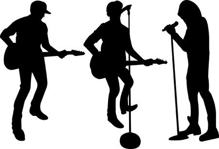 music figure: Band Singer Silhouette Illustration