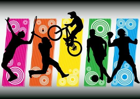 sport voetbal fiets tennis honkbal voetbal pictogram silhouet