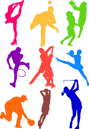 sport tennis ice skate baseball football golf icon silhouette Vector