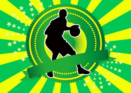 basketball player silhouette green background