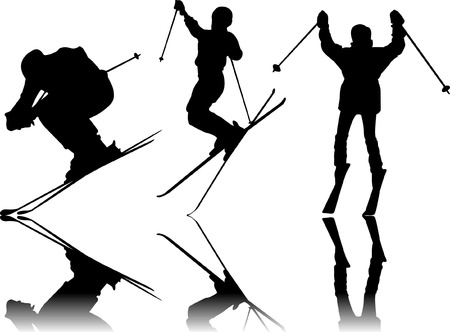 Skiing Sport silhouettes  Vector