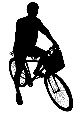 cycling and bicycle silhouettes Illustration