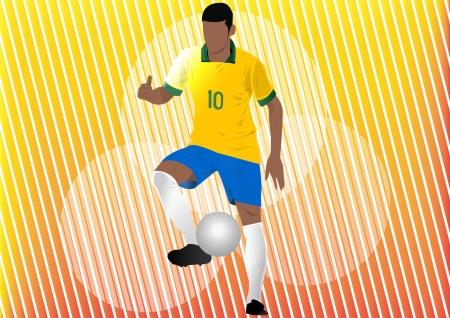 Football player soccer silhouette Stock Vector - 24540235