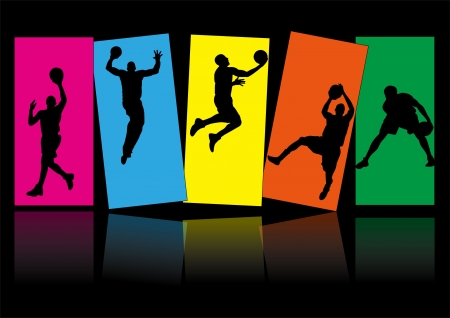five men playing basketball and colorful background shadow Silhouette Vector