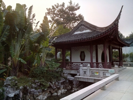 walled: Ancient Chinese kiosk at Kowloon walled city park