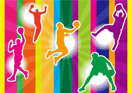 rebound: five men playing basketball and colorful background shadow Silhouette
