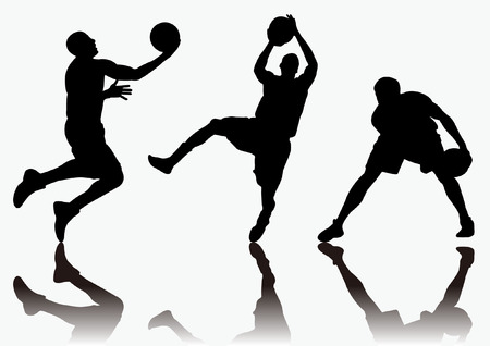 three men playing basketball and colorful background shadow Silhouette
