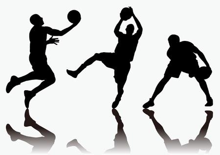 três homens jogando basquete e colorido da silhueta fundo sombra Imagens - 24905904