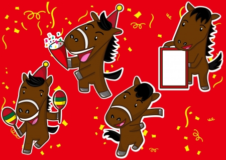 year of horse: happy lunar new year and the horse cartoon celebration