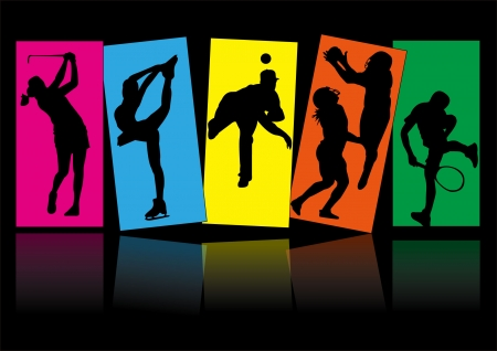 sport tennis ice skate baseball football golf icon silhouette