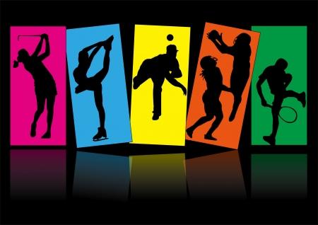 sport tennis schaatsen golf honkbal pictogram silhouet Stock Illustratie