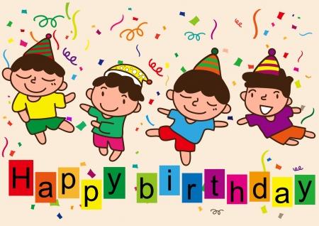 b day party: happy birthday cartoon celebration