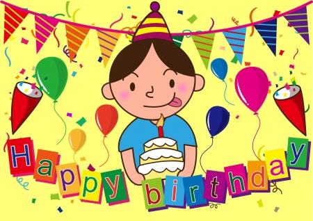 feliz cumplea�os caricatura: feliz celebraci�n de cumplea�os de dibujos animados