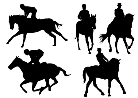 Horse racing game silhouette Vector