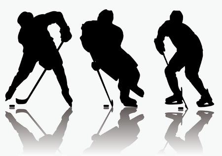 Ice hockey players silhouette Illustration