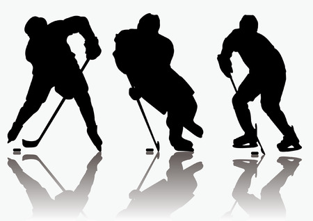 defense equipment: Jugadores de hockey sobre hielo silueta