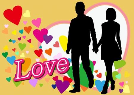amantes de la pareja en el día de San Valentín Ilustración de vector