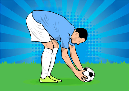 Soccer players shoot penalty kick silhouette, sports shadow