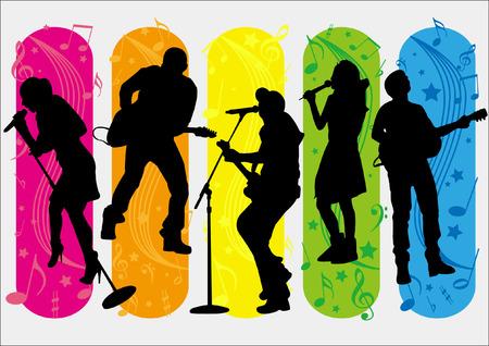 Cinco cantantes de la silueta y elementos de la música Foto de archivo - 25867456