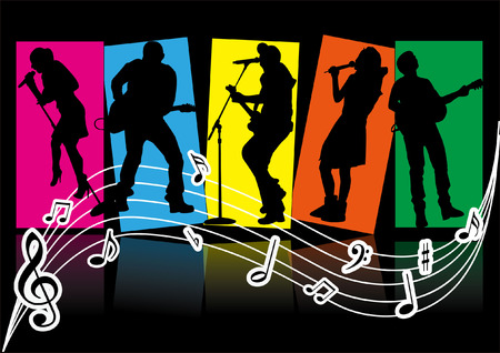 singer silhouette and music items Stock Vector - 25928846