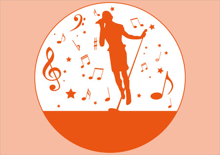singer silhouette and music items Vector