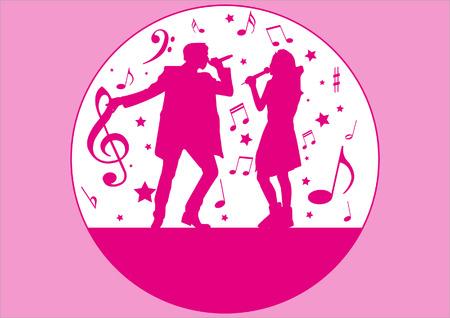silueta cantante y música elementos Ilustración de vector