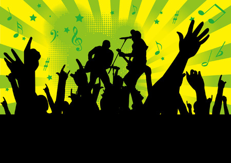 performing arts event: people hands up  at a concert