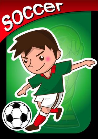 kicking ball: cartoon soccer player Illustration