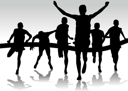 group of runners marathon Vector