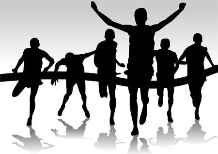 fila di persone: gruppo di corridori della maratona Vettoriali