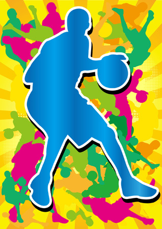 man playing basketball and colorful shadow Silhouette Illustration