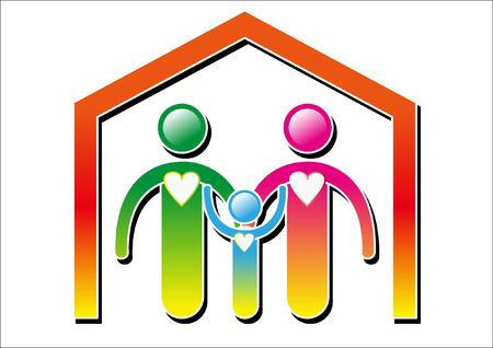smile family heart icon Vector