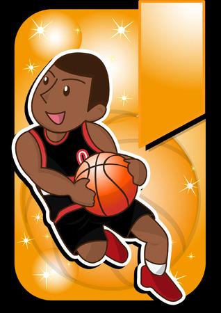 jump shot: cartoon basketball player Illustration